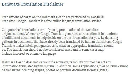 Hallmark Health Language Translation Disclaimer