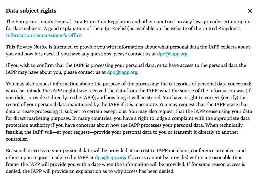 IAPP Privacy Policy: Data Subject Rights clause mentioning GDPR