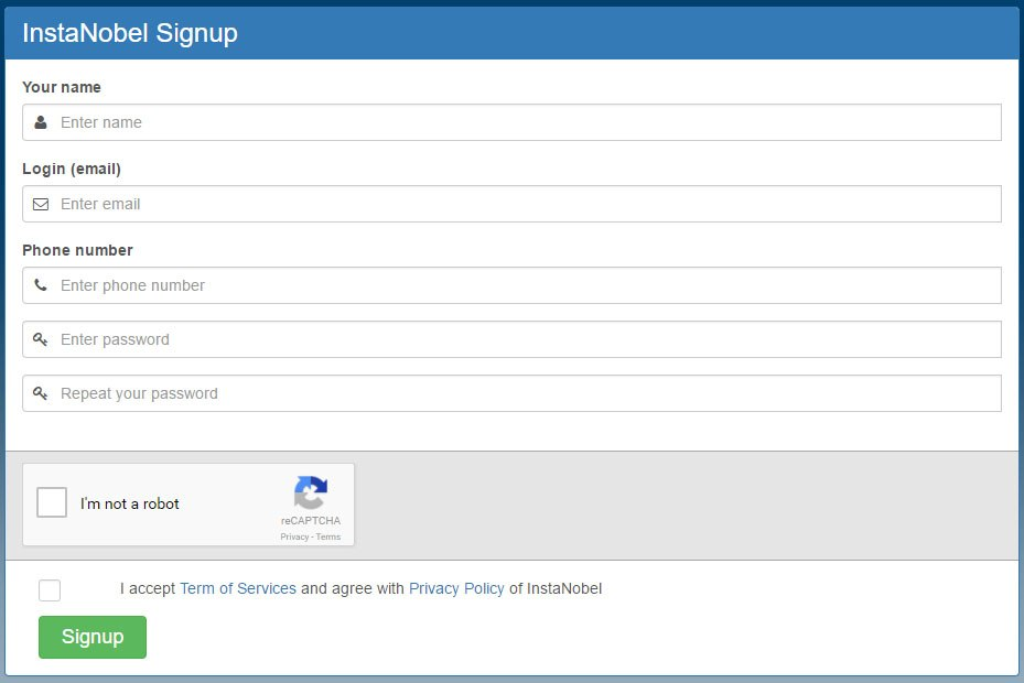 Instanobel signup form using clickwrap for agreeing to Privacy Policy