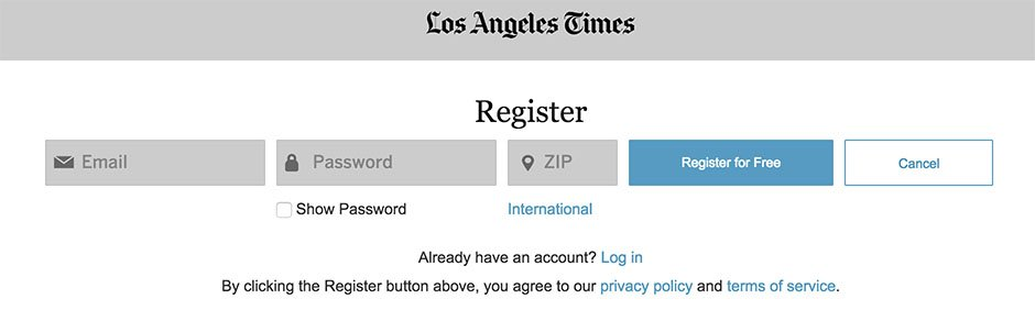 LA Times Register page showing link to Privacy Policy