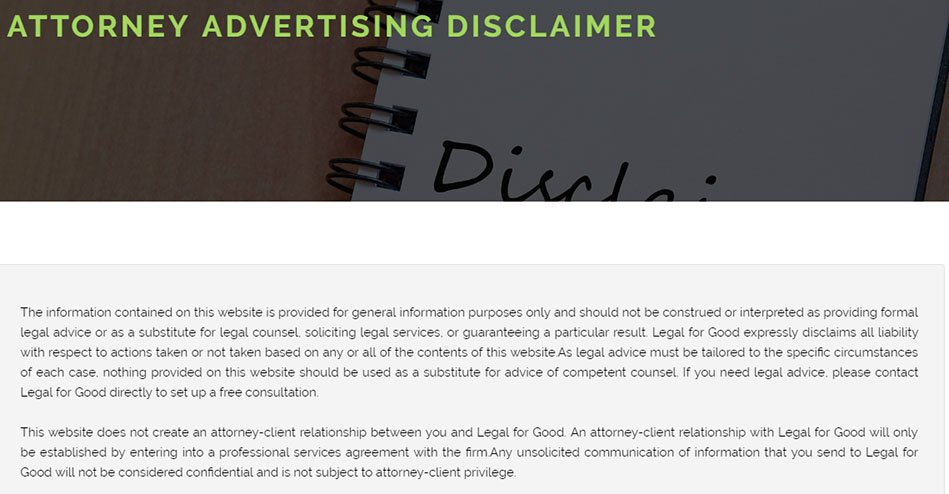 Legal for Good Attorney Advertising Disclaimer