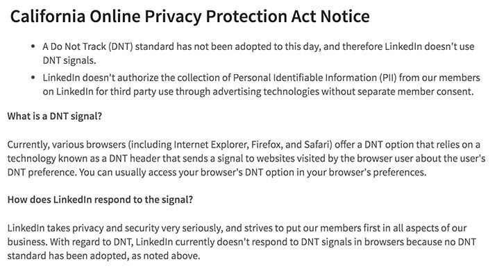 LinkedIn Privacy Policy: CalOPPA Do Not Track notice