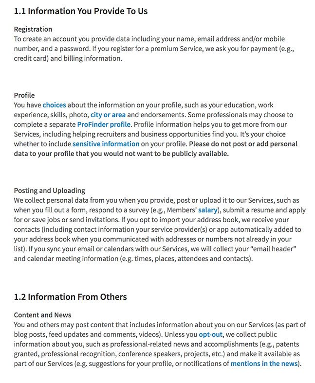 LinkedIn Privacy Policy clauses about information collected