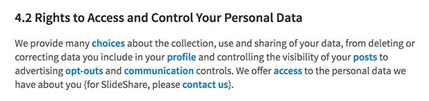 LinkedIn Privacy Policy: Rights to Access and Control Your Personal Data clause
