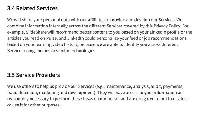 LinkedIn Privacy Policy clauses for sharing personal information