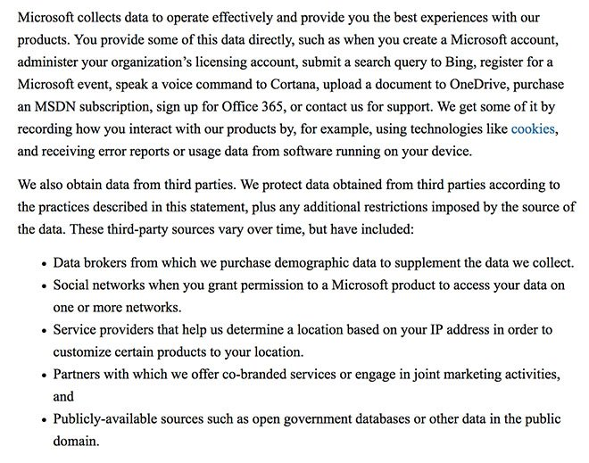 Microsoft Privacy Policy: How Data is Collected clause