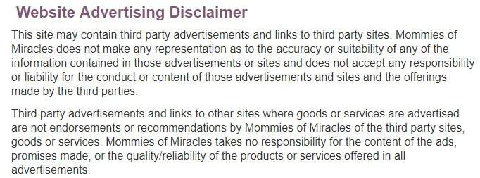 Mommies of Miracles Website Advertising Disclaimer