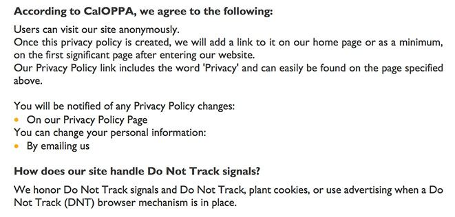 Optimal Strategix Group Privacy Policy: CalOPPA clause