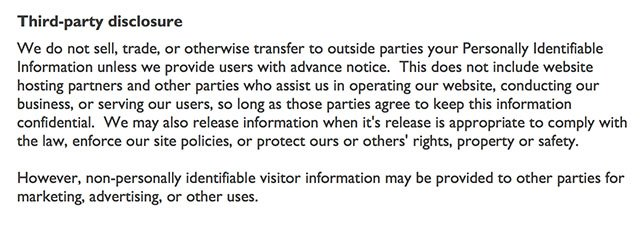 Optimal Strategix Group Privacy Policy: Third Party Disclosure clause
