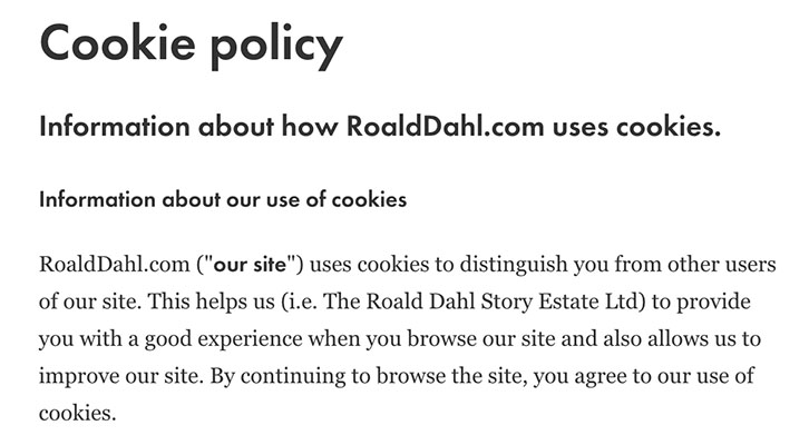 Roald Dahl Cookie Policy using browsewrap
