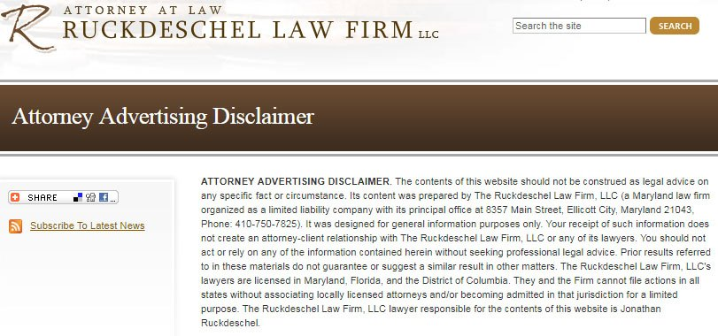Ruckdeschel Law Firm: Attorney Advertising Disclaimer