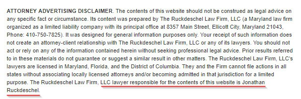 Ruckdeschel Law Firm Attorney Advertising Disclaimer