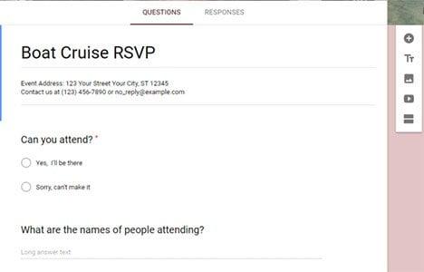 Google Form Sample: boat cruise rsvp