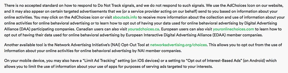 Spotify Privacy Policy: Do Not Track clause