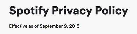 Spotify Privacy Policy: Effective date
