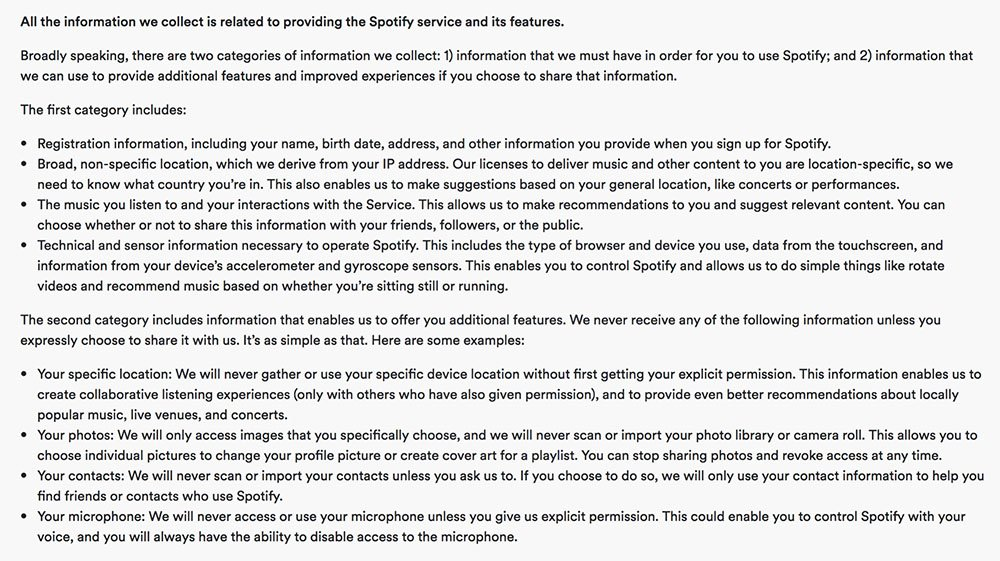 Spotify Privacy Policy: Information collected clause