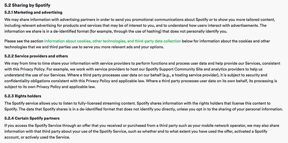 Spotify Privacy Policy: Sharing by Spotify clause