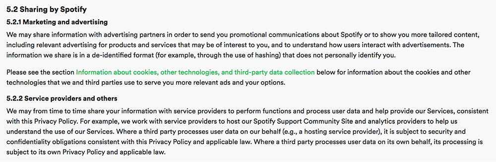Spotify Privacy Policy: Sharing information with third parties clause