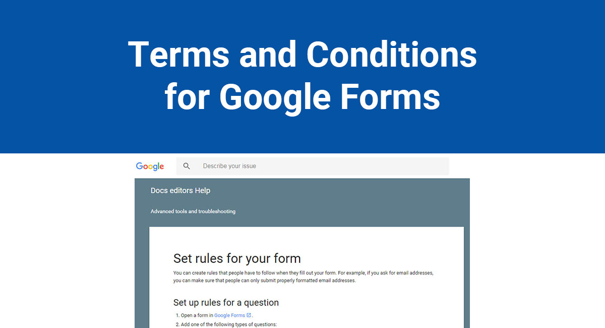 Image for: Terms and Conditions for Google Forms