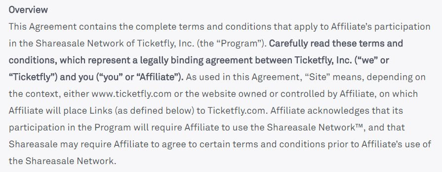 Ticketfly Terms and Conditions: Overview clause