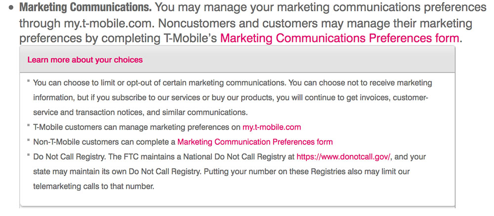 T-Mobile Privacy Policy: Marketing Communications clause