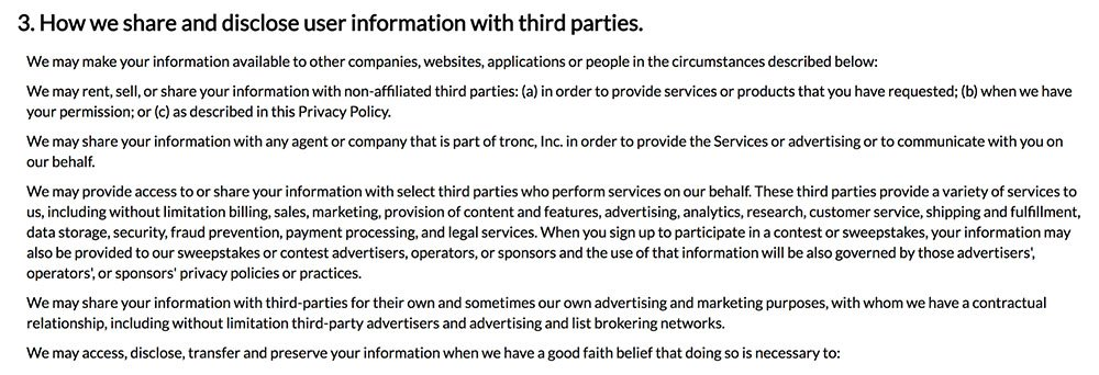 Tronc Privacy Policy: How we share and disclose information with third parties clause