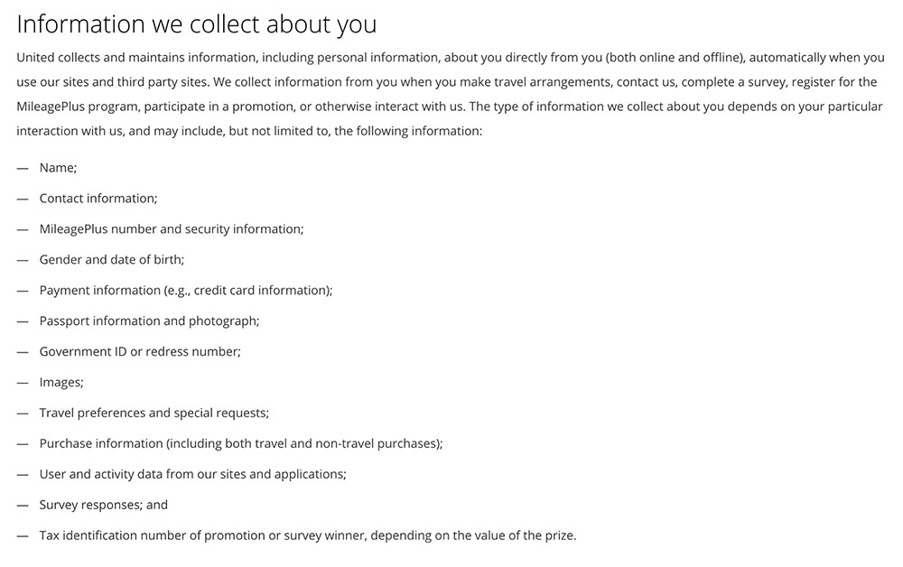 United Airlines Privacy Policy: Information we collect about you clause