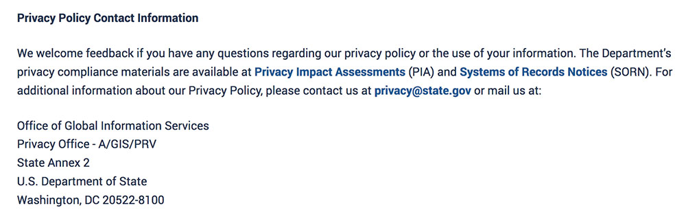 US Dept of State Privacy Policy: Contact Information