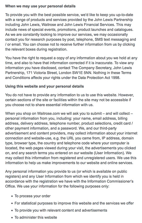 Waitrose Privacy Policy: How Personal Information is Used clause