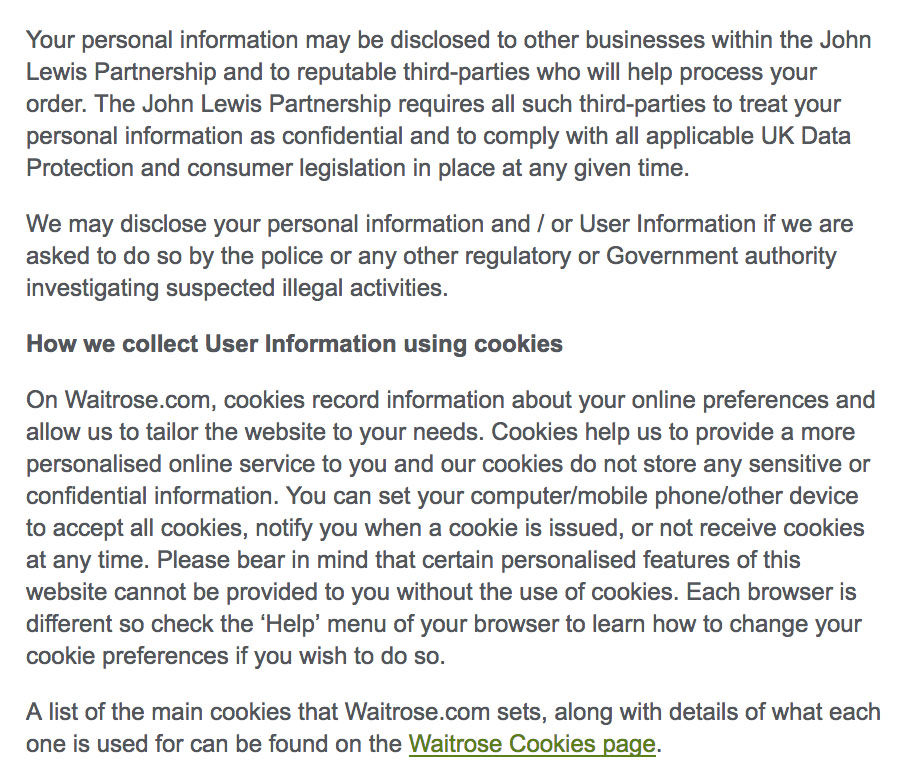 Waitrose Privacy Policy: Clauses about sharing personal information and cookies
