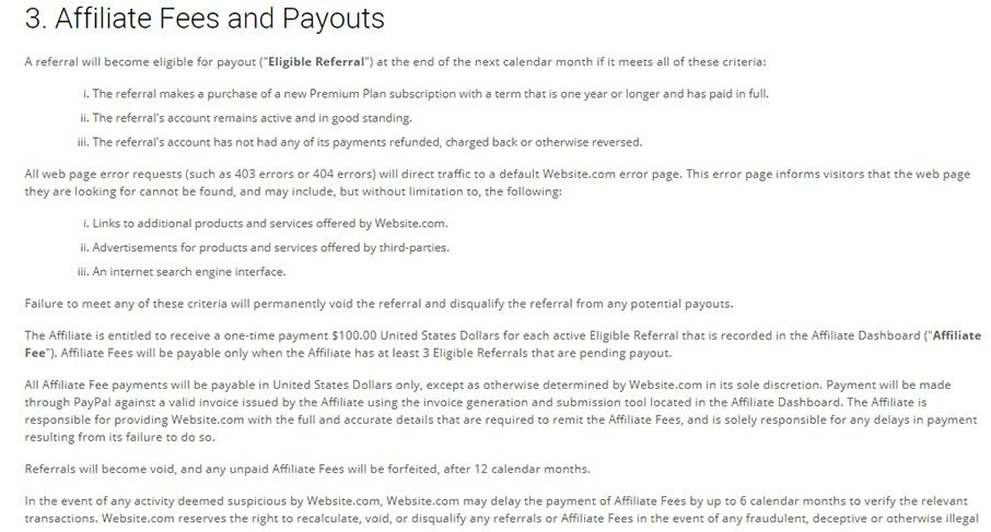 Website.com Terms and Conditions: Affiliate Fees and Payouts clause