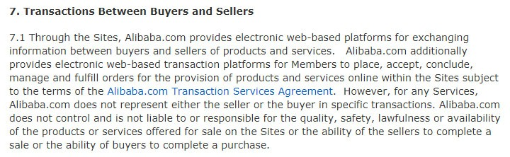Alibaba Terms and Conditions: Transactions Between Buyers and Sellers clause