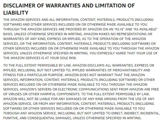 Amazon Conditions of Use: Disclaimer of Warranties and Limitation of Liability clause