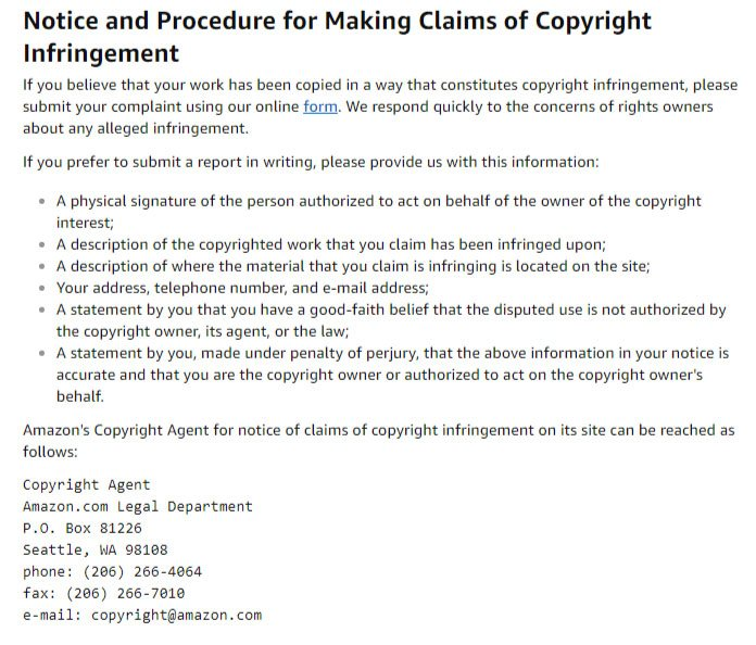 Amazon Conditions of Use: Notice and Procedure for Making Claims of Copyright Infringement clause