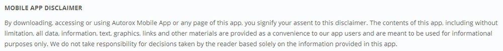 Autorox Mobile App Disclaimer intro