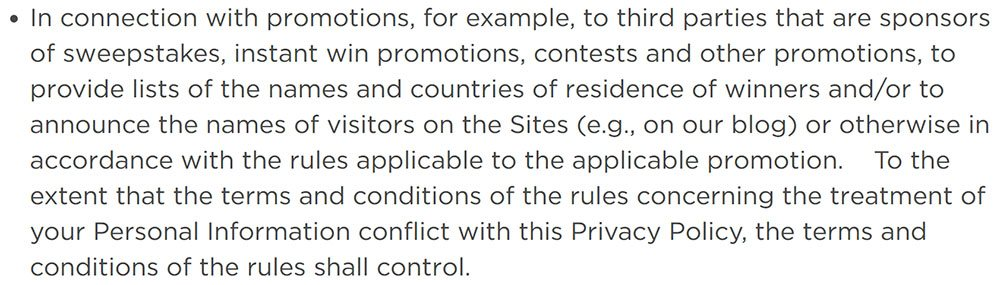 Coca-Cola Privacy Policy: Clause mentioning sweepstakes and third party sharing of information