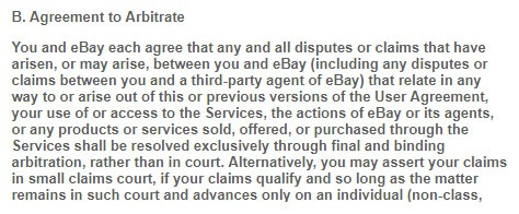 eBay Dispute Resolution clause