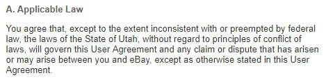 eBay User Agreement: Applicable Law clause