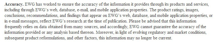 EWG Terms, Conditions and User Agreement: Accuracy legal disclaimer