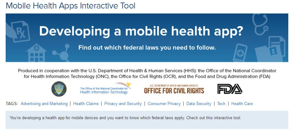 Screenshot of the FTC Mobile Health Apps Interactive Tool banner ad