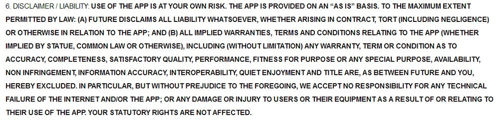 Future PLC App Terms and Conditions: Disclaimer Liability clause