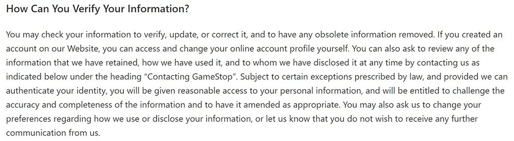 GameStop Privacy Policy: How Can You Verify Your Information clause