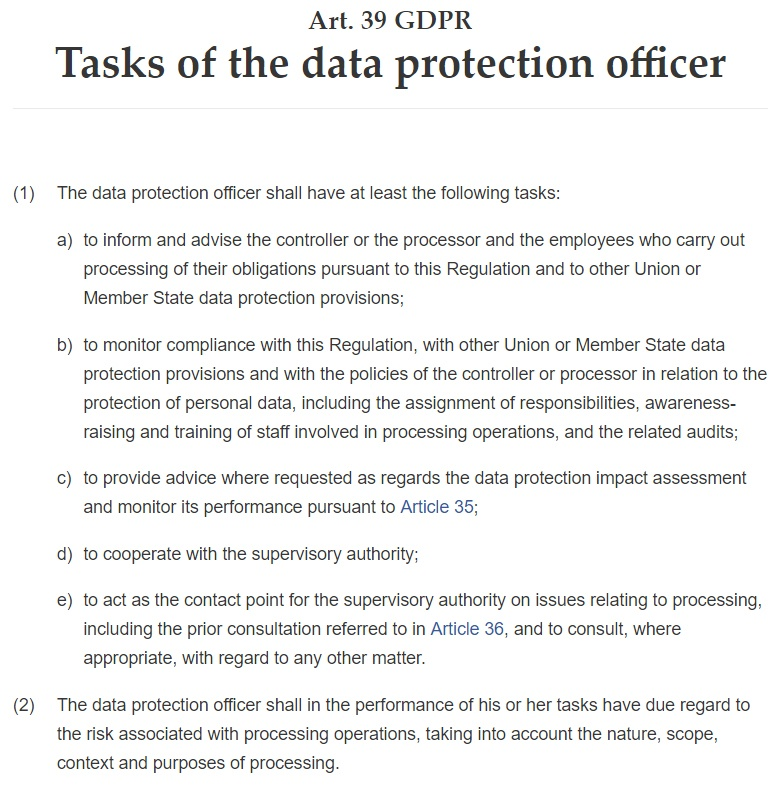 GDPR Article 39: Tasks of the Data Protection Officer