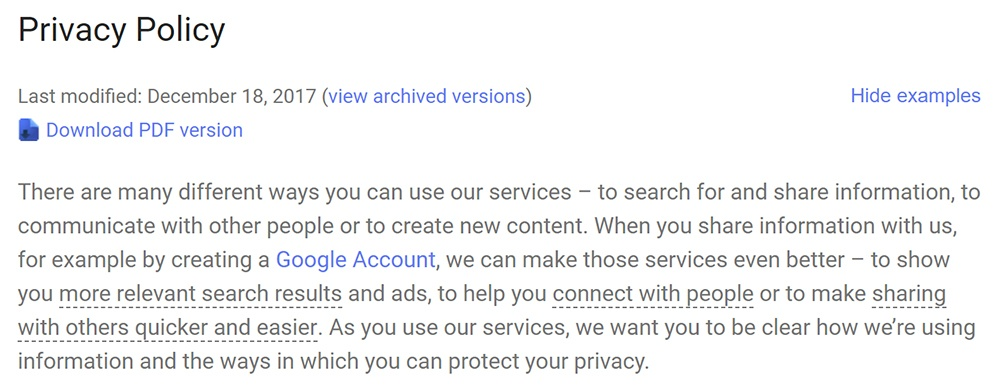 Intro of the Google Privacy Policy