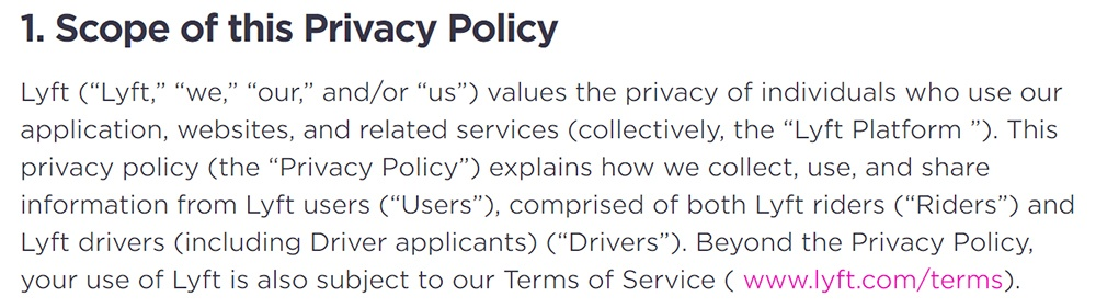 Lyft Privacy Policy: Scope of this Privacy Policy clause