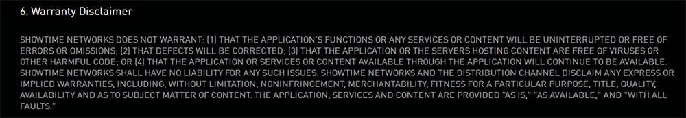 Showtime Mobile App End User Agreement: Warranty Disclaimer