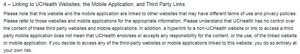 UCHealth Disclaimer and Terms of Use: Third Party Links clause