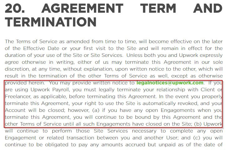 Upwork User Agreement: Term and Termination clause