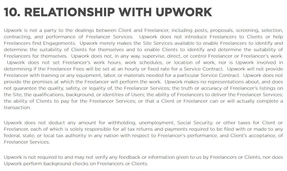 Upwork User Agreement: Third Party Relationship clause