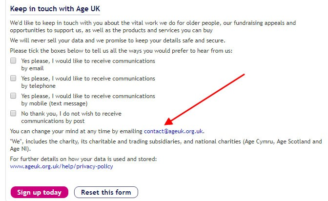 Age UK communications sign-up form with opt-out email address